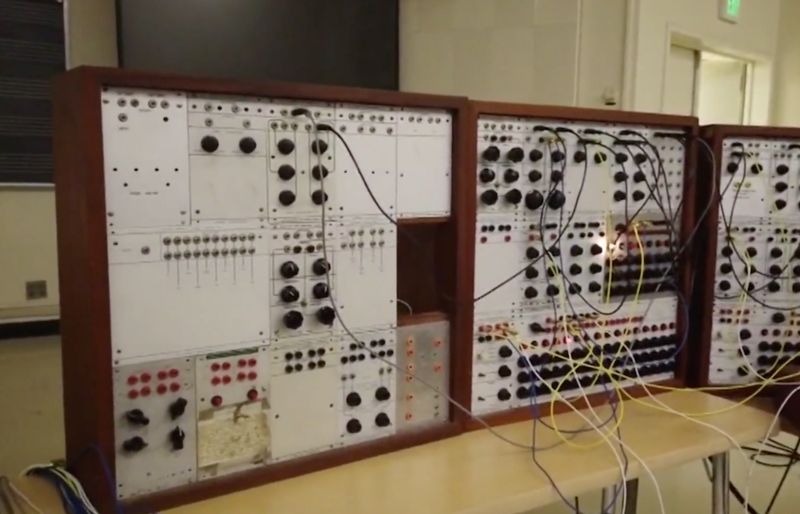 Header vintage buchla model 100 modular synthesizer from cal state university